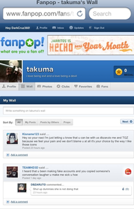 Here's [b]Kisname123[/b] posting on [b]Tajuma's wall[/b] and te can see what this troll account detto