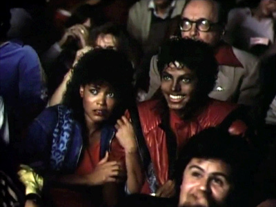"Michael with Co-star, Ola रे in the 1983 ""Thriller"" video"