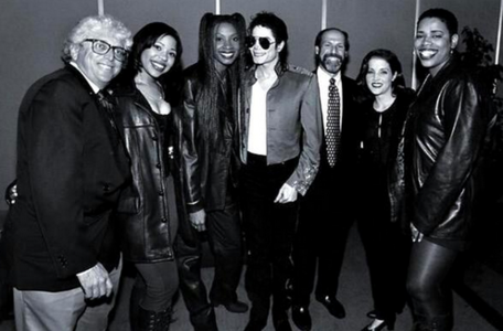 Michael with Lisa Marie and vocal group, triplex, brownstone