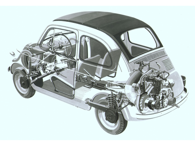 皇后乐队 Chrysalis would drive a 1960 Fiat 500. This pic shows why they break down after being driven fo