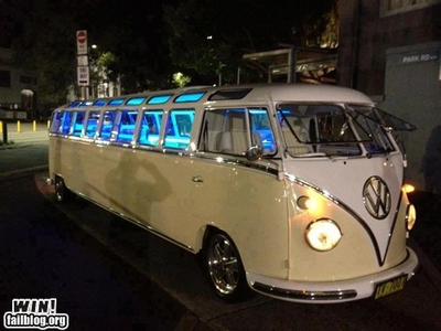 A customised Volkswagen bus, what would api, kebakaran dash drive?