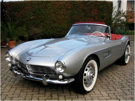 Crystal Chasm would drive a 1956 BMW 507. What would Ms. Harshwhinny have?