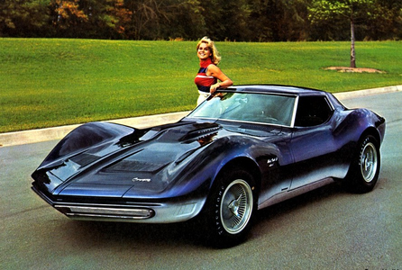 Rarity would drive a 1965 Chevrolet Corvette Mako Shark. What would applejack have? One lebih thin