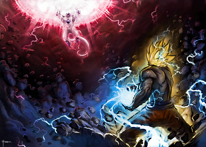 Mine is Goku vs Frieza. Totally epic. The icon version is below if you guys want to see it. I always