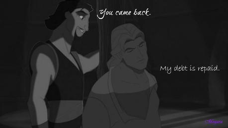 RND3: Beast/Shang Beast: u came back. Shang: My debt is repaid Characters: Sinbad and John