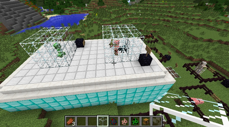 (Here we have the top, boven view XP In glass cases we have Ren my cave spin and Stimpy my Zombie pigman i