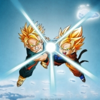Goten and Trunks doing a Kamehameha