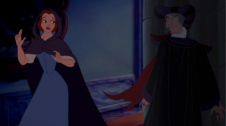 Here's mine - Frollo in his creepy way spies Belle in Notre Dame and decides to seduce her!