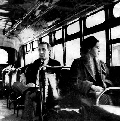 Rosa Parks - In 1955 she refused to give up her सीट to a white passenger on a city bus in Montgomer