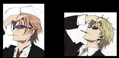 Shizuo Heiwajima from Durarara!! and Izumo Kusanagi from K Project *cough* ripoff *cough*