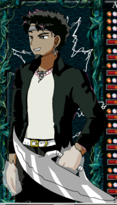 Name : Mako lightingedge age : 19 Gender : male Appearance : brown skin with black hair. He