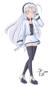 Name: Bell sunaza  Age: 16  Gender: female  Appearance: White hair held in a black hair band. W