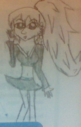 i drew this one one of my papers for english.... i tried turning tae into a female. dont judge