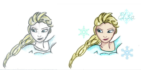 Very well done. They look beutiful. 9/10. This is one of my Elsa drowings (I scanned it and retouched