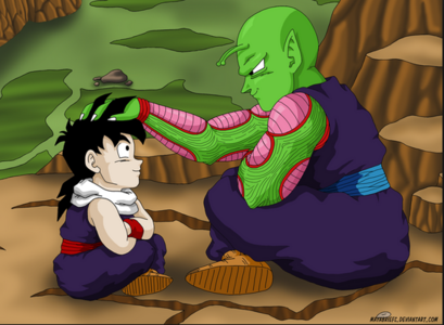 here's the picture of piccolo and gohan i want a picture of goku vs broly