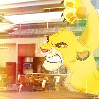 Disneyland 4 Simba eating at a cafe in Disney World