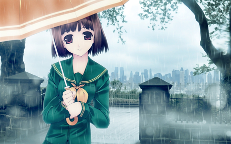 Hmm... I choose the girl with the umbrella as my object!