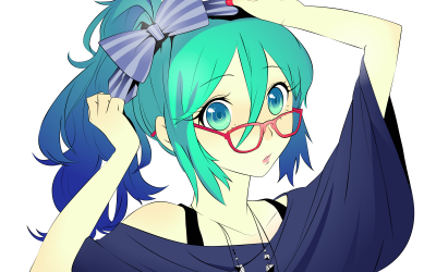 White background and bow ~ (Hatsune Miku)