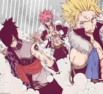 Scar Sting, Rogue, and Natsu from Fairy Tail