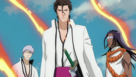 (Gin on the left, Aizen in the middle, Kaname on the right.)