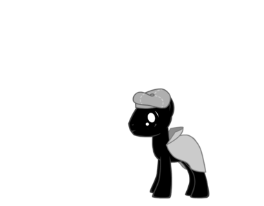 (Pony in grey cappotto walks through alley way)