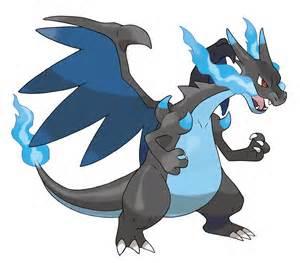 ngày 12: MEGA CHARIZARD X! IT'S SO COOL! I tình yêu the black and blue màu sắc of it's body and the blue fl
