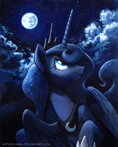 Luna, the Princess of the Night. Surprisingly well written character. Let's have a picture of a sunse