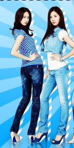 YoonSeo in blue outfit! (Is this okay?) I command YoonYulSic in गुलाबी outfit