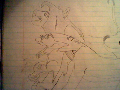 And one of my 20 বছর old TLK drawings, I drew when I was 10. Picture of Simba, Nala and Fluffy.