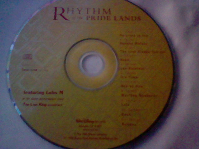 "Here's my TLK ""Rhythm of the pride lands"" soundtrack CD :)"