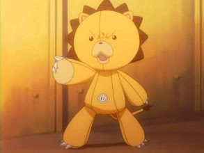 "Mizu heard noises coming from her backpack as a little lion plushie jumped out."" HEY!"" It said."" ITS"