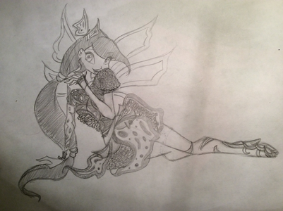 Here is her butterflyix, the shape and movement of the dress was difficult in the position, 全体, 全体的です I