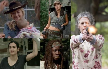 вверх 5 female characters? TV Series 1. Carol 2. Beth 3. Michonne 4. Tara 5. Rosita Comic
