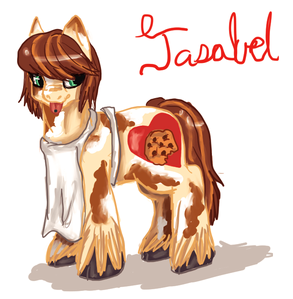 Name:Jasabel Sweethearts Age: 17 Gender: female with male mannerisms Species: equine(feat
