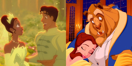 Aladdin and hasmin :) Tiana and Naveen or Belle and Beast?