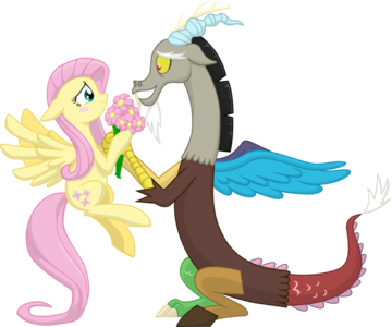 I just Cinta this one because it's adorable how Fluttershy and Discord are holding the Bunga togethe