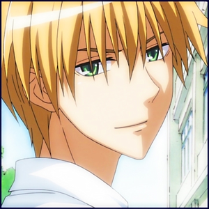 Usui Takumi from Kaichou wa Maid-sama This জীবন্ত character has gray/white hair, heterochromia eyes