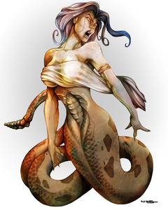 Helga: *finishes off the Lich, ignoring Enricho. She then slithers toward him, glaring at him with he