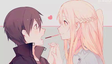 I haven't seen the প্রদর্শনী so I don't know. Asuna & Kirito from Sword Art Online?