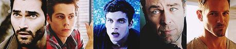 - superiore, in alto 5 male characters? [i] Derek Hale[/i] [i] Stiles[/i] [i] Isaac Lahey[/i] [i] Chris Argen