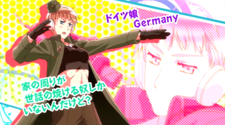 Even Fem!Germany from Хеталия is masculine Post an animated character that is shy