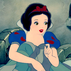 Snow White Post an animated character with green eyes.