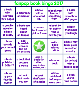 Behold, a shiny new Fanpop Book Bingo 2017 card!