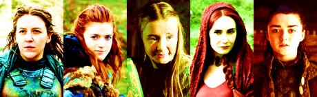 [b]- 상단, 맨 위로 5 female characters? [/b] Yara Ygritte Shireen Melisandre Arya