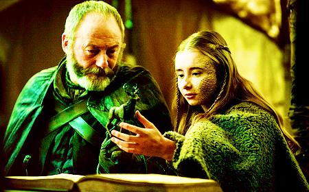 [b]Favorite parent/child relationship?[/b] Davos & Shireen. He was a far better a father to her tha