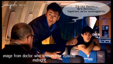 +The Doctor meets Merlin Emrys! Here's a funny picture of both Merlin & the Doctor just for you.