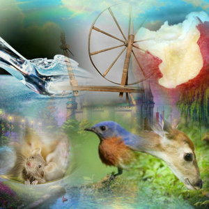 Here's the collage. The glass slipper and mice in a teacup = cinderella The spinning wheel and so