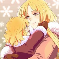 "Hyoga with his mother Natassia from ""Saint Seiya"""