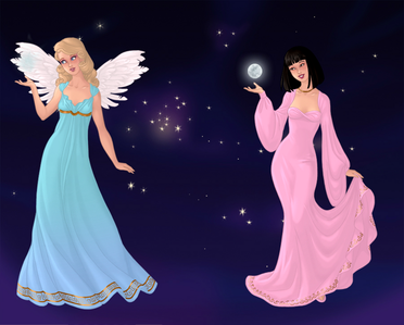 Entry 2: Angel And The Moon Spirit. (These princesses are Cinderella and Mulan.)