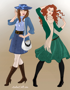 #1st entry Princess: Belle and Merida Theme: Semi-Formal Look Title: Casual Friday